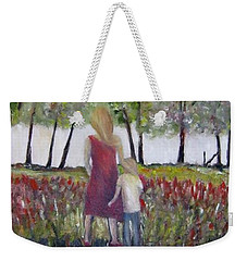Weekender Tote Bag featuring the painting Mother And Son by Marilyn  McNish