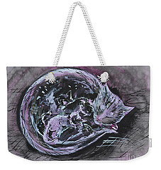 Weekender Tote Bag featuring the painting Mother Cat With Kittens by Zaira Dzhaubaeva