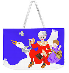 Mother Goose On Her Flying Goose Weekender Tote Bag by Marian Cates