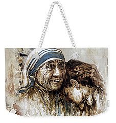 Weekender Tote Bag featuring the painting Mother Teresa  by Gull G