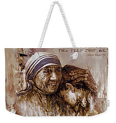 Weekender Tote Bag featuring the painting Mother Teresa Of Calcutta  by Gull G