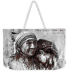 Weekender Tote Bag featuring the painting Mother Teresa Of Calcutta Portrait  by Gull G