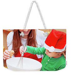 Mother With Son Baking Christmas Cookies Weekender Tote Bag