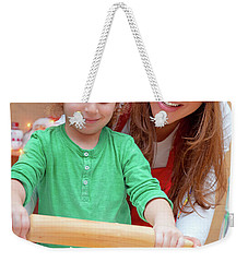 Mother With Son Doing Christmas Cookies Weekender Tote Bag