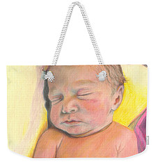 Weekender Tote Bag featuring the drawing Mother's Love -isabelle by Jan Dappen