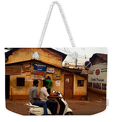 Motorbike Crossing Goa Times Newstand Weekender Tote Bag by Funkpix Photo Hunter