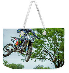 Weekender Tote Bag featuring the photograph Motocross Aerial by David Morefield