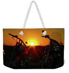 Motorcycle Sunset Weekender Tote Bag by Kimo Fernandez