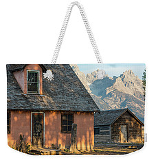 Weekender Tote Bag featuring the photograph Moulton Homestead - Pink House At Morning Light by Colleen Coccia