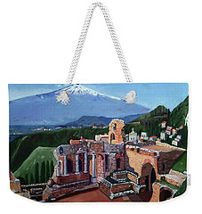 Mount Etna And Greek Theater In Taormina Sicily Weekender Tote Bag