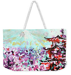 Weekender Tote Bag featuring the painting Mount Fuji And The Chureito Pagoda In Spring by Zaira Dzhaubaeva