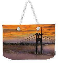 Mount Hood By St Johns Bridge During Sunrise Weekender Tote Bag