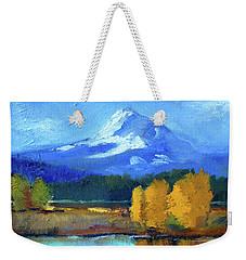 Weekender Tote Bag featuring the painting Mount Hood by Nancy Merkle