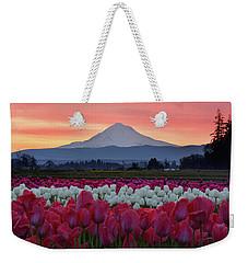 Mount Hood Sunrise With Tulips Weekender Tote Bag