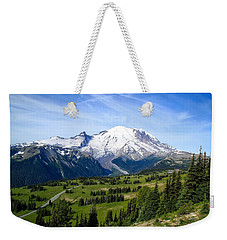 Weekender Tote Bag featuring the photograph Mount Rainier At Sunrise by Lynn Hopwood