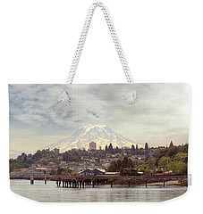 Mount Rainier Over City Of Tacoma Washington Weekender Tote Bag