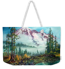 Weekender Tote Bag featuring the painting Mount Rainier by Sherry Shipley