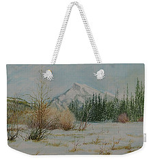 Mount Rundle In Winter Weekender Tote Bag