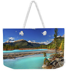 Weekender Tote Bag featuring the photograph Mount Saskatchewan by John Poon