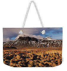 Weekender Tote Bag featuring the photograph Mountain And Land, Iceland by Pradeep Raja Prints