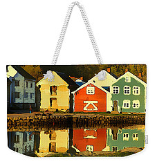 Weekender Tote Bag featuring the digital art Mountain Cottages Reflected by Shelli Fitzpatrick