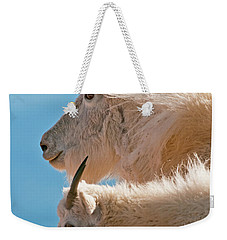 Weekender Tote Bag featuring the photograph Mountain Goats by Gary Lengyel