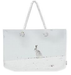 Mountain Hare Sat In Snow Weekender Tote Bag