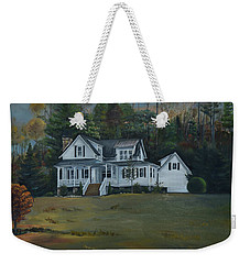 Weekender Tote Bag featuring the painting  Mountain Home At Dusk by Jan Dappen