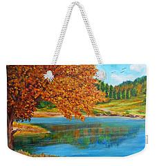 Mountain Lake In Greece Weekender Tote Bag