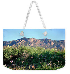 Weekender Tote Bag featuring the photograph Mountain Landscape View - Purple Flowers by Matt Harang