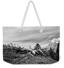 Mountain Landscape With Fallen Tree And View At Alps In Switzerland Weekender Tote Bag
