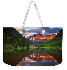 Weekender Tote Bag featuring the photograph Mountain Light Sunrise by Darren White