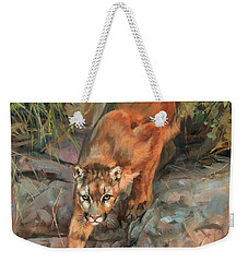 Weekender Tote Bag featuring the painting Mountain Lion 2 by David Stribbling
