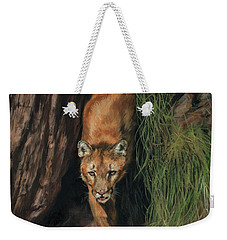 Weekender Tote Bag featuring the painting Mountain Lion Emerging From Shadows by David Stribbling