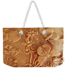 Mountain Meadow Original Clay Relief - Checkerspot Butterfly Detail Weekender Tote Bag