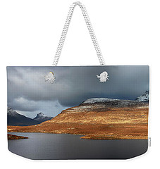 Weekender Tote Bag featuring the photograph Mountain Pano From Knockan Crag by Grant Glendinning