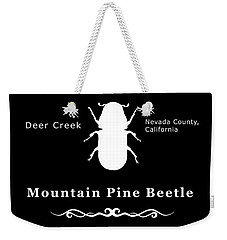 Mountain Pine Beetle White On Black Weekender Tote Bag