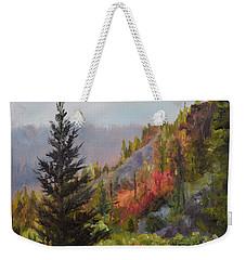 Mountain Slope Fall Weekender Tote Bag by Lori Brackett