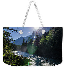 Weekender Tote Bag featuring the photograph Mountain Sunburst by Margaret Pitcher