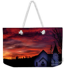 Weekender Tote Bag featuring the photograph Mountain Sunrise And Church by Thomas R Fletcher
