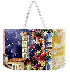 Weekender Tote Bag featuring the painting Mountain Town, Spain by Rae Andrews