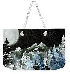 Mountain Winter Night Weekender Tote Bag