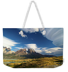 Mountains And Clouds In Patagonia Weekender Tote Bag