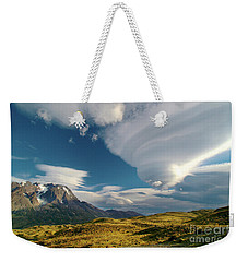 Mountains And Lenticular Cloud In Patagonia Weekender Tote Bag