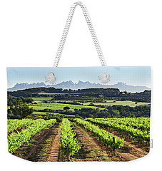 Weekender Tote Bag featuring the mixed media Mountains Of Montserrat Catalunya by Gina Dsgn