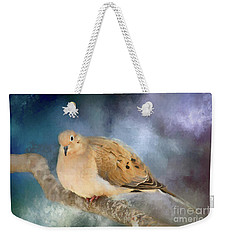 Weekender Tote Bag featuring the photograph Mourning Dove Of Winter by Darren Fisher
