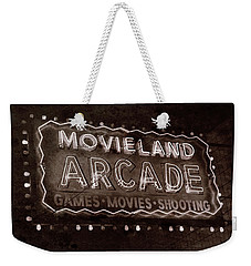 Weekender Tote Bag featuring the photograph Movieland Arcade - Gritty by Stephen Stookey