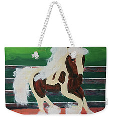 Weekender Tote Bag featuring the painting Moving Horse by Donald J Ryker III