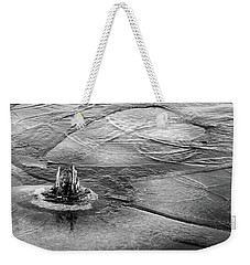 Moving Ice Winter 2017 Bw Weekender Tote Bag by Mary Bedy