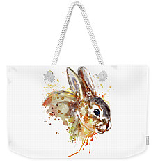 Weekender Tote Bag featuring the mixed media Mr. Bunny by Marian Voicu